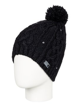 록시 Roxy Shooting Star Pom-Pom Beanie,TRUE BLACK (kvj0)