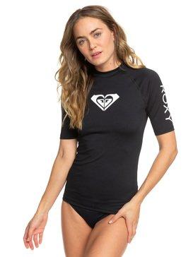 록시 UPF 50 자외선 차단 하트 로고 반팔 래쉬가드 블랙 Roxy Whole Hearted Short Sleeve UPF 50 Rash Guard