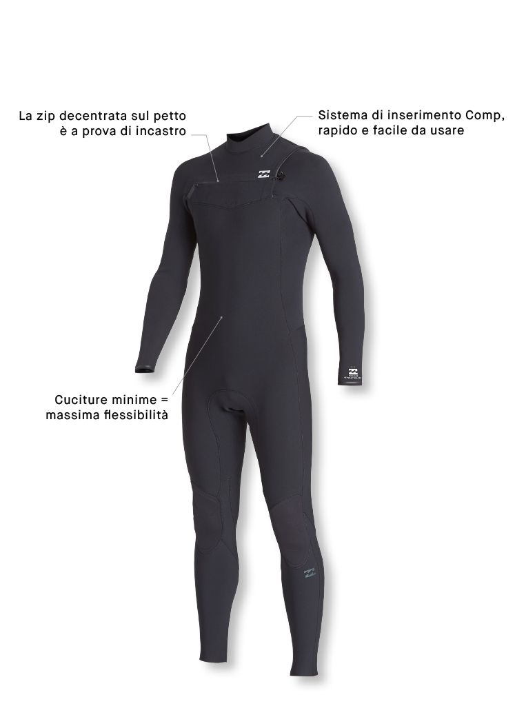 Billabong Mens Furnace Carbon Comp 5//4mm Petto Zip Muta Ardesia