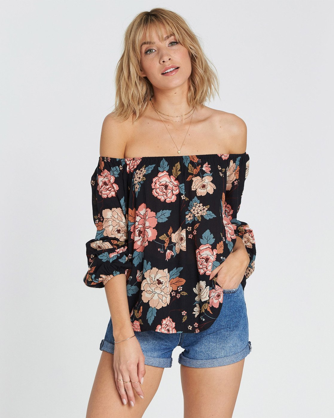 8d8b6d505f3b73 0 Mi Amore Floral Print Off-The-Shoulder Top Black J530SBMI Billabong