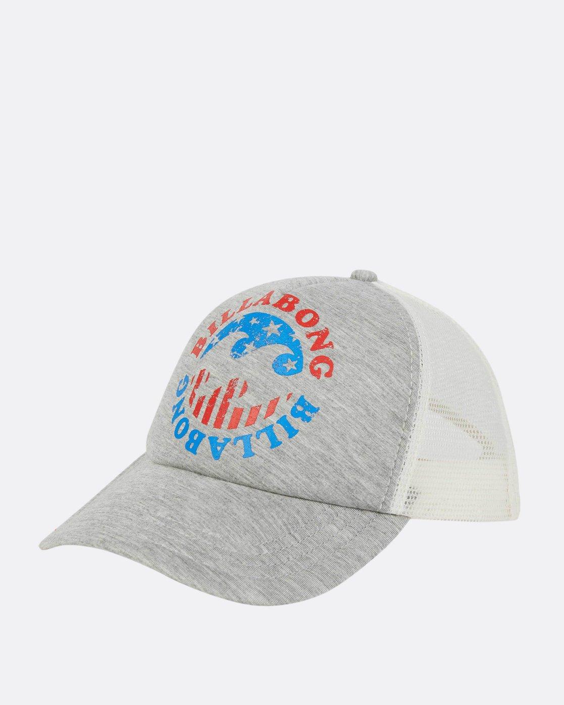 0 Across Waves Trucker Hat Grey JAHWPBAC Billabong 390fa0d214b