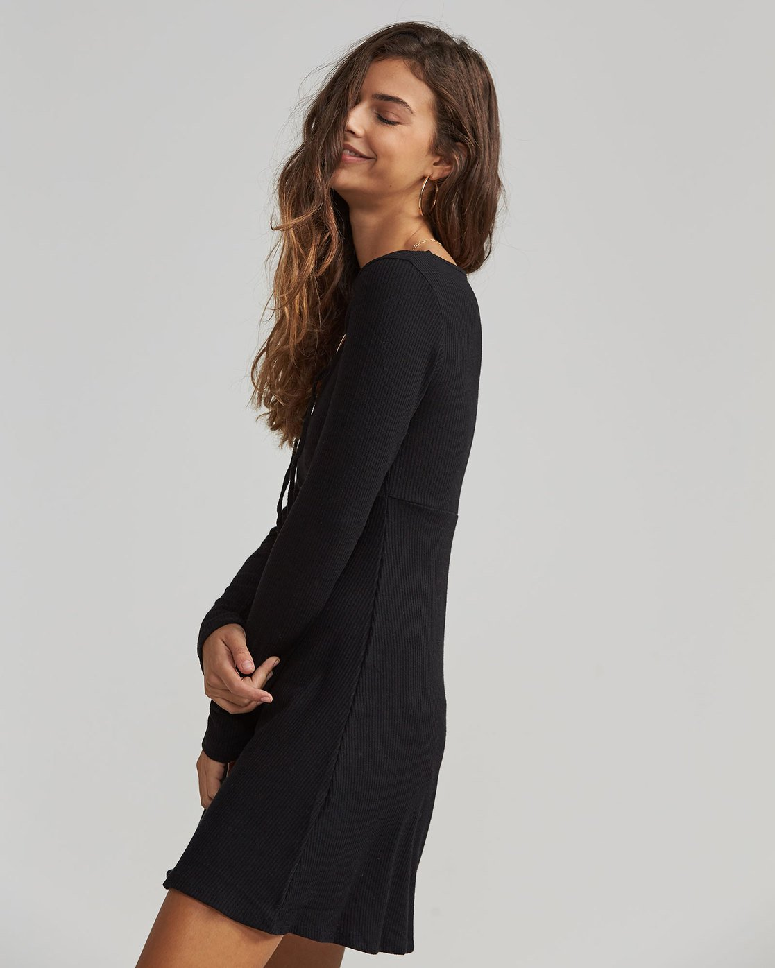 Jd17sbwa Billabong Sleeve Black On Walk Long Sweater Dress 2 4AO08H18
