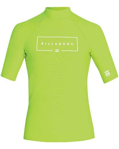 0 Boys' Union Performance Fit Short Sleeve Rashguard Green BR11TBUN Billabong