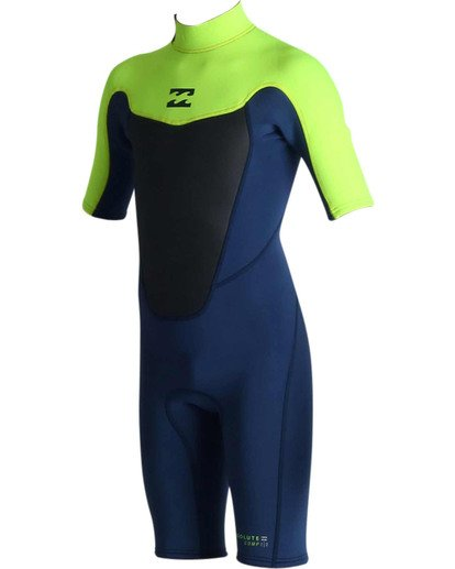 0 2mm Boys Absolute Back Zip Short Sleeve Springsuit Green BWSPJABS Billabong