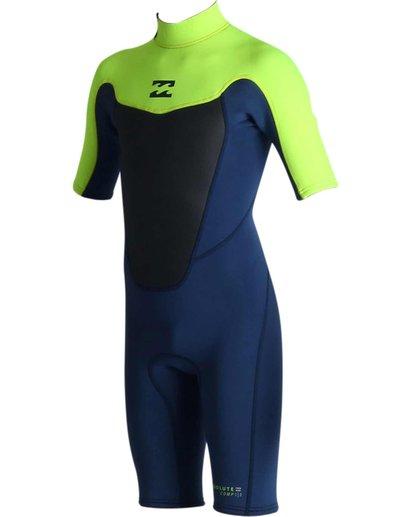 0 2mm Boys Absolute Back Zip Short Sleeve Springsuit Green BWSPJABS Billabong