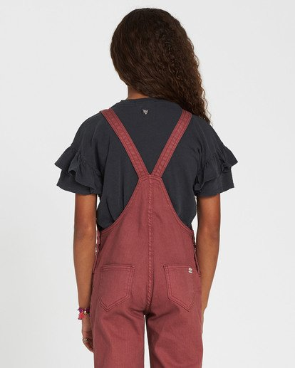 2 Girls' Follow Me Denim Overall Purple G305QBFO Billabong