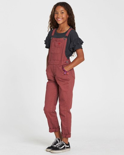 1 Girls' Follow Me Denim Overall Purple G305QBFO Billabong
