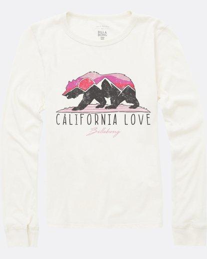 1 Girls' Mountain Cali Bear Long Sleeve Tee White G420SBMO Billabong