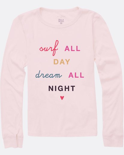 0 Girls' Surf All Day Long Sleeve Tee Pink G420SBSU Billabong