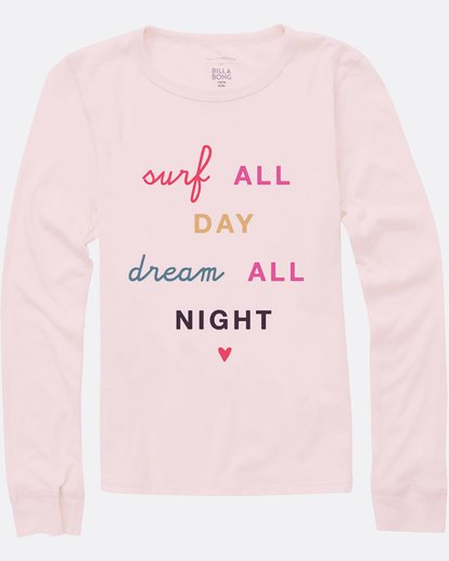 1 Girls' Surf All Day Long Sleeve Tee Pink G420SBSU Billabong