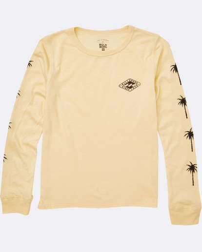 1 Girls' Stay Wild Long Sleeve Tee Yellow G420TBST Billabong