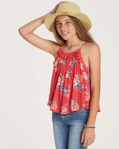 2 Girls' No Hassle Top Red G503NBNO Billabong