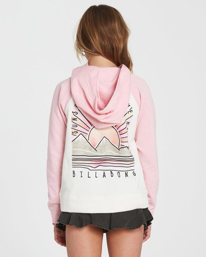2 Girls' Block Party Hooded Fleece Pink G602SBBL Billabong