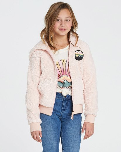 2 Girls' Cozy Town Polar Fleece Hoodie Pink G608SBCO Billabong