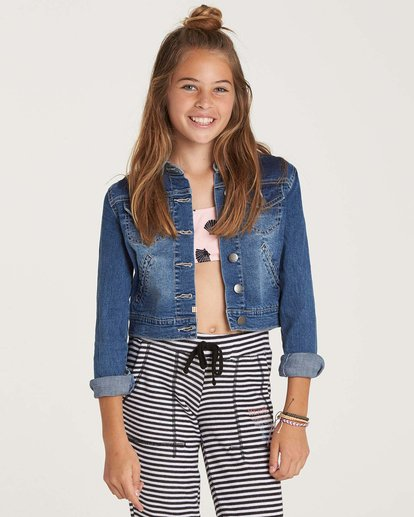 1 Girls' Roses R Red Denim Jacket Blue G701NBRO Billabong