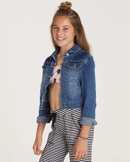 2 Girls' Roses R Red Denim Jacket Blue G701NBRO Billabong