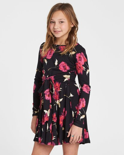 1 Girls' Floral Dawn Floral Print Dress Black GD03SBFL Billabong