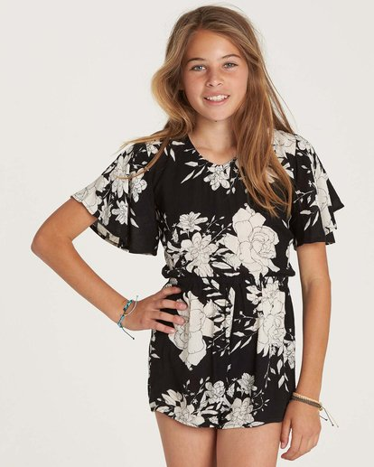 1 Girls' Night Flower Romper Black GN01NBNI Billabong