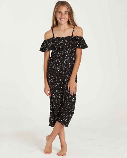 0 Girls' One Dance Floral Print Romper Black GN02QBON Billabong