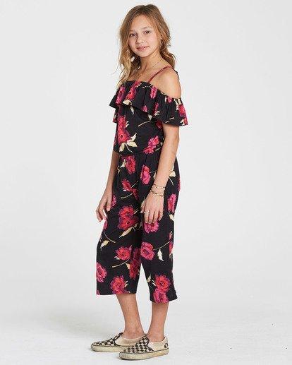 1 Girls' One Dance Floral Print Romper Black GN02QBON Billabong