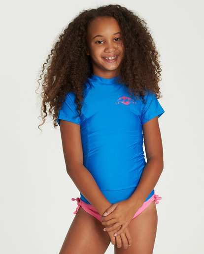 0 Girls' Surf Dayz Performance Short Sleeve Rashguard Blue GR01NBSD Billabong