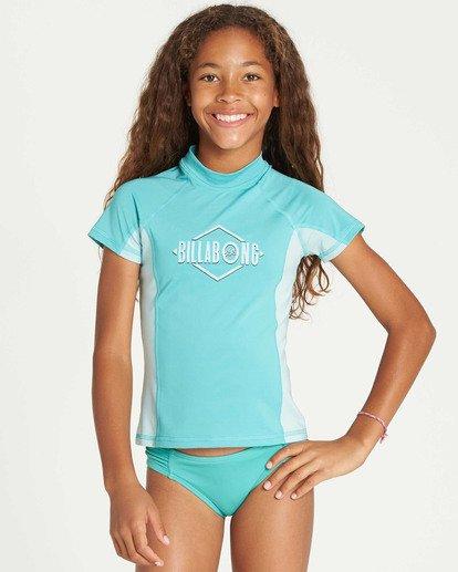 1 Girls' Surf Dayz Performance Short Sleeve Rashguard Green GR03TBSD Billabong