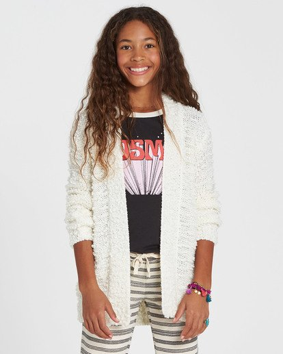 0 Girls' Lets Go Cardigan Sweater White GV01SBLE Billabong