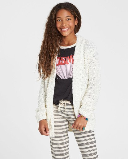 1 Girls' Lets Go Cardigan Sweater White GV01SBLE Billabong