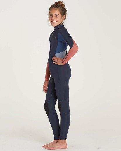 1 Girls' 3/2 Synergy Back Zip Flat Lock Wetsuit Grey GWFUNBF3 Billabong