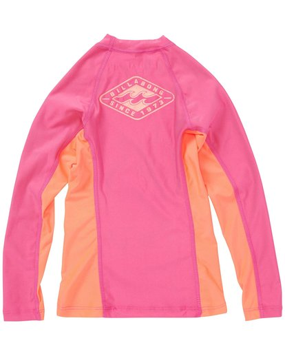 1 Girls' Surf Dayz Performance Fit Long Sleeve Rashguard Pink GWLYJSCL Billabong