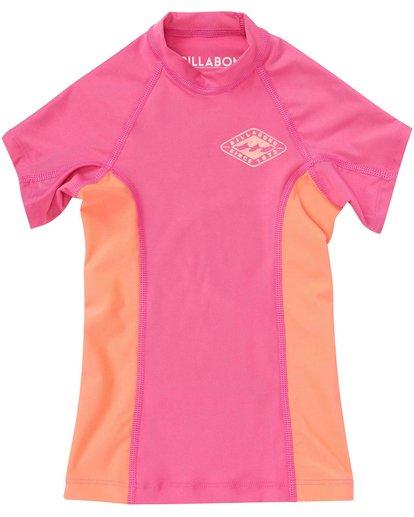3 Girls' Surf Dayz Performance Fit Short Sleeve Rashguard Pink GWLYJSCS Billabong
