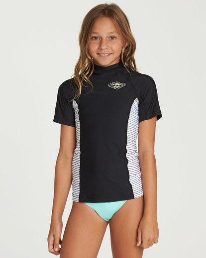 0 Girls' Surf Dayz Performance Fit Short Sleeve Rashguard Black GWLYJSCS Billabong