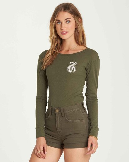 1 Staff Only Long Sleeve Tee Green J424QBST Billabong