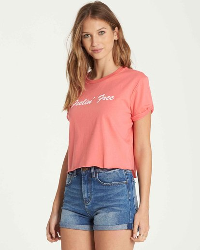 1 Feelin' Free Crop Tee Orange J436QBFE Billabong