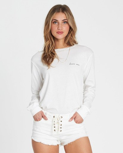 3 Love Me Long Sleeve Tee White J446SBLO Billabong