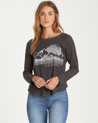 0 Love Billabong Thermal Long Sleeve Tee Black J447QBLO Billabong