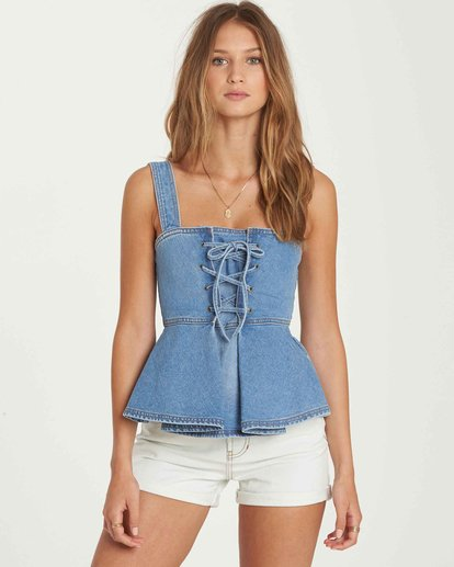 0 Coastline Denim Corset Top  J505QBCO Billabong