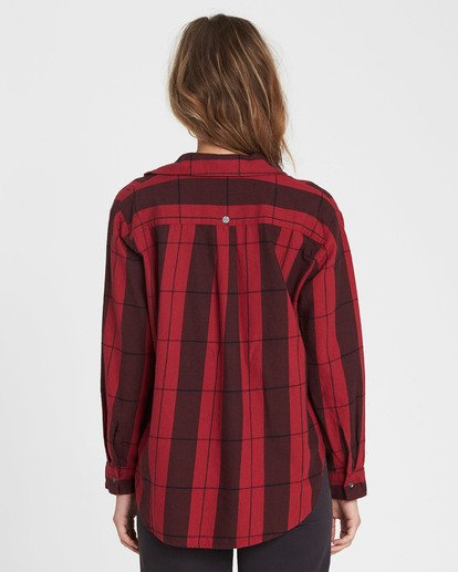 2 Cozy Down Plaid Button Down Shirt Red J508SBCO Billabong