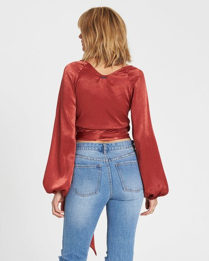 3 Shine On Silky Wrap Top Red J511SBSH Billabong