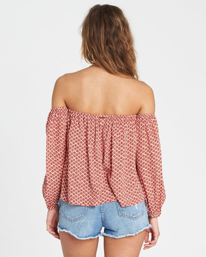 2 Forever Lover Off-The-Shoulder Top Red J517SBFO Billabong