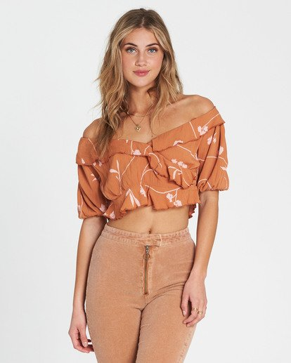 1 Babe Time Floral Print Crop Top Brown J522SBBA Billabong