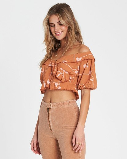2 Babe Time Floral Print Crop Top Brown J522SBBA Billabong