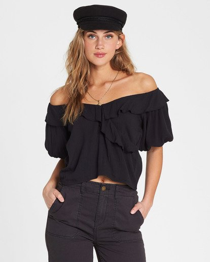 0 Babes For Days Woven Off-The-Shoulder Top Black J525SBBA Billabong