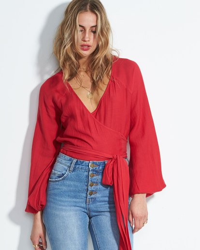 0 Shine On Long Sleeve Wrap Top Red J528SBSH Billabong