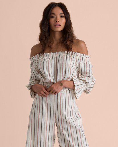 2 Sincerely Jules Tulum Weathers Off-The-Shoulder Top  J534TBTU Billabong