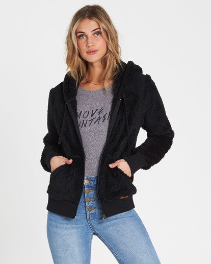 0 Cozy Down Polar Fleece Jacket Black J612MCOZ Billabong