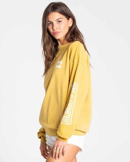 1 White Wash Sweatshirt Yellow J612TBWH Billabong