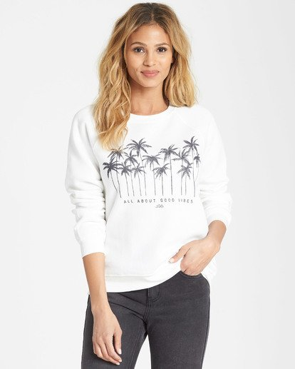 0 Good Vibes Fleece Sweatshirt White J650SBGO Billabong