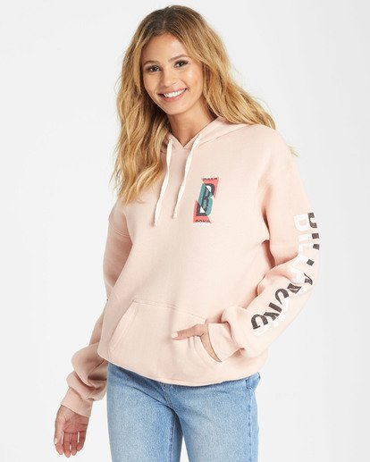 0 Retro Logo Fleece Hoodie Pink J651SBRL Billabong