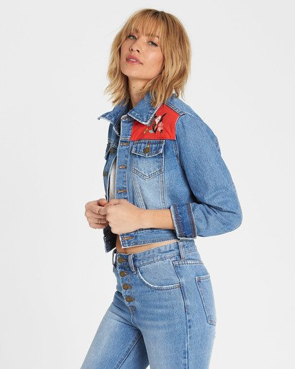 3 Nothing Two Loose Cropped Denim Jacket Blue J711SBNO Billabong